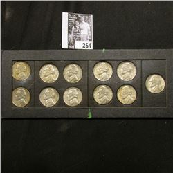1942-45 Complete Set of U.S. Silver World War II Nickels in an old Wayte Raymond Coin frame. EF-AU.