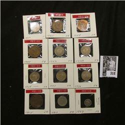 1897, 1910, 1915, 36-38, 40, 42-45, & 1950 Mexico Five Centavos. Some are Silver.