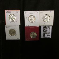1945 P. BU; 46 P, AU; 46 D BU, 49 D, Fine; & 51 P BU Washington Quarters.