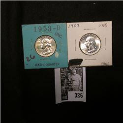 1953 P & 53 D Gem BU Washington Quarters.