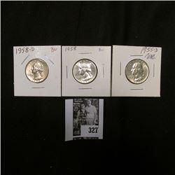 1955 D, 58 P, & D Gem BU Washington Quarters.