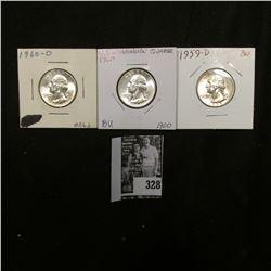 1959 D, 60 P, & D Gem BU Washington Quarters.