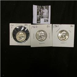 1961 P, 62 P, & D Gem BU Washington Quarters.