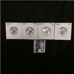 1963 P, D, 64 P, & 64 D Gem BU Washington Quarters.