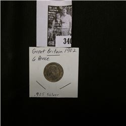 1902 Great Britain Silver Six Pence, VF.