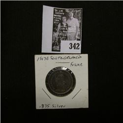 1907 B Switzerland Silver Franc. Toned EF.
