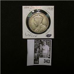1935 New Zealand Silver Half Crown, Fine.
