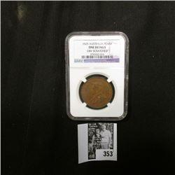 1925 Australia One Penny NGC slabbed Fine Details Obv. Scratched.
