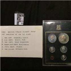 1985 British Virgin Islands Proof Set consisting of six (6) coins. One Cent to Dollar, Hawksbill Tur