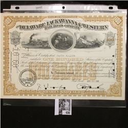 "April 13, 1960 100 Shares of ""The Delaware, Lackawanna & Western Railroad Company"" Stock Certificate"
