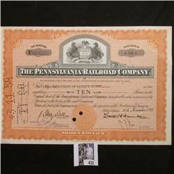 "November 20th, 1951 10 Shares of ""The Pennsylvania Railroad Company"" center vignette rearing stallio"
