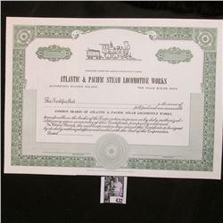 "Unissued Stock Certificate ""Atlantic & Pacific Steam Locomotive Works"", The State of Illinois."
