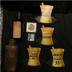 """Several Pharmaceutical Counter Signs; Old Amber Bottle with Screw Top """"Pint Poison Fluid Extract No."""