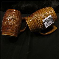"""(2) """"Old heidelberg"""" Ceramic Barrel Mugs."""