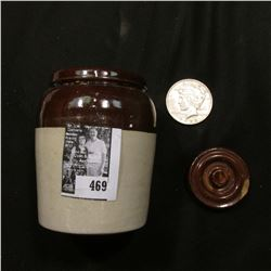 Ceramic Jar with lid (chipped); & 1922 P U.S. Peace Silver Dollar, VF.