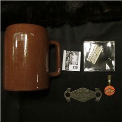 """Diamond Edge"" Pen Clip; old style Razor blade; ""Buckeye"" Stoneware Mug & ""Spicer Use Oil"" tool."