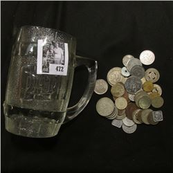 """""""Dad's"""" Root Beer Clear Glass Heavy Mug; & an unsorted group of Foreign Coins and tokens."""