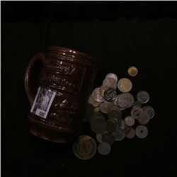 """Ceramic Mug """"Goldenglow Special Brew"""",""""Blumer's Special  Brew"""" with a large group of unsorted foreig"""