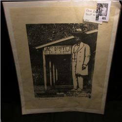 """Black and white Print of Statue of Jack Daniel, signed by artist """"1686/3000 Dan Quest RS""""."""