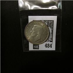 1945 Great Britain Silver Half Crown of George VI, EF-AU.