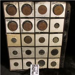 20-pocket Plastic page full of Foreign Coins including New Zealand, Brazil, Canada, Egypt, Norway, G