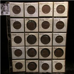 20-pocket Plastic page full of New Zealand large pennies.