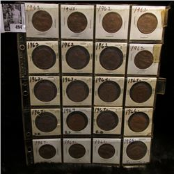 20-pocket plastic page full of Great Britain large pennies.
