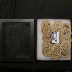 "(15) Wooden Nickels in a glass-faced 4"" x 6"" case ""Quasquicentennial 1857-1982 125 Yrs. Coggon, Iowa"
