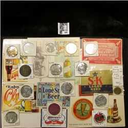 """12"""" x 16"""" Glass-faced case full of Breweriana Medals, Tokens, and Etc."""