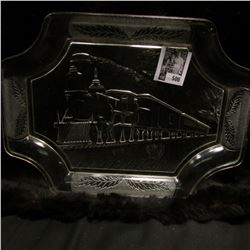 """Clear Glass embossed serving plate depicting a """"350"""" Locomotive with Railroad Cars. 9"""" x 12"""""""