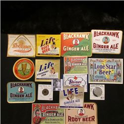 (13) Different Bottle Labels for Ales and beverages; Set of 2 Cedar Rapids, Iowa Dairy tokens; & a C