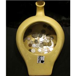 Glazed Clay Pottery Hospital style Urinal/Bedpan with an unsorted group of Foreign Coins & tokens.