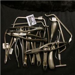 Large group of metal Dental Medical Tools.