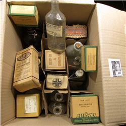 Cardboard Box full of old Medicine Bottles, nearly all are Cork stopper type.