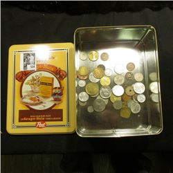 """Grape Nuts Post"" Tin box with an unsorted group of various foreign Coins & Tokens."
