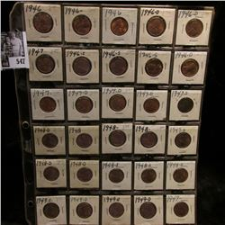 (30) Lincoln Cents in a plastic page dating between 1946-49, nearly all are Gem BU.