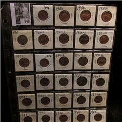 (29) Lincoln Cents in a plastic page dating between 1946-54, nearly all are Gem BU.