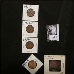 1909 P Fine, (2) 1914 P VG & Fine; 15 S Fine; & 54 S BU Lincoln Cents.