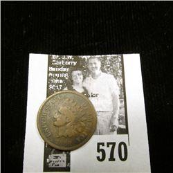 1868 Indian Head Cent, Good.