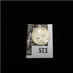1943 P World War II Silver Jefferson Nickel, AU-Unc.