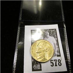 1943 P World War II Silver Jefferson Nickel, Gold toned BU.