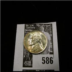 1944 P World War II Silver Jefferson Nickel, Superbly toned Gem BU.