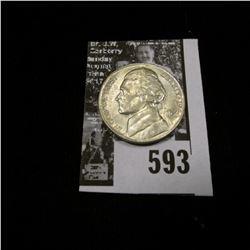 1944 P World War II Silver Jefferson Nickel, Uncirculated.
