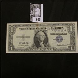Series 1935F One Dollar Silver Certificate Star * Replacement Note, Choice AU with on light center c