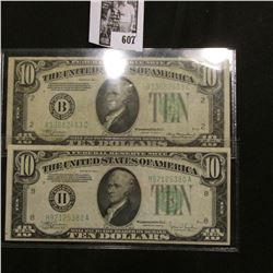 """Series 1934A """"B"""" Federal Reserve Bank of New York, NY. $10 Banknote, VF+; & Series 1934 """"H"""" Federal"""