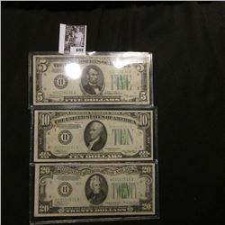 """Series 1934B """"H"""" Federal Reserve Bank of St. Louis, Mo. $5 Banknote, EF; Series 1934A """"H"""" Federal Re"""