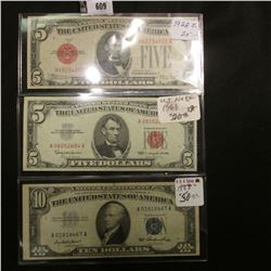 Series 1928E Five Dollar U.S. Note with 'Red Seal', Fine; Series 1963 Five Dollar U.S. Note with 'Re