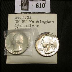 (2) 1948 P Gem BU Washington Quarters, lightly toned Brilliant Uncirculated, one has attractive ambe