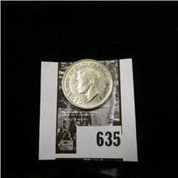 1937 Dot Canada Nickel, Almost Uncirculated.