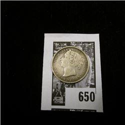 1882 H Newfoundland Twenty Cent Piece, Y4, VF.